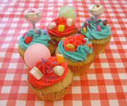 Red and Blue Sweetie cupcakes